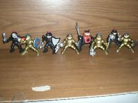 8 Fisher Price Great Adventures Castle Gold & Black Knight Action figures