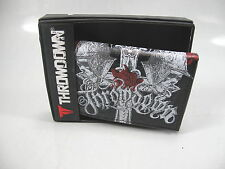 THROWDOWN Wallet Black Trifold White Skull Cross  Red Roses THROWDOWN LOGO