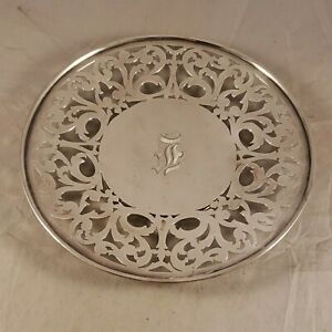 VINTAGE STERLING SILVER FOOTED PIERCED PLATE #1329  272 GRAMS