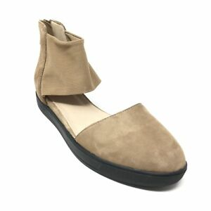 Women's NEW Eileen Fisher Back Zip Wedge Loafers Sandals Shoes Size 7.5 Brown