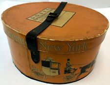 "Vintage RARE 14.5"" Orange DOBBS 5th Avenue NYC Horse Drawn Carriage Hat Box"
