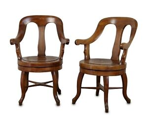 Pair of 19th Century Continental Walnut Barber's Chairs