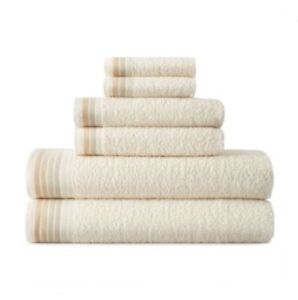 JCP Home Expressions 6 Piece Solid Cotton Bath Towel Set IVORY OMBRE