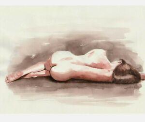 Original Aquarell Akt Zeichnung 30x40 cm (Venetian Red 1, Akt, nu, nude, Erotik)