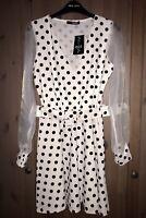 Quiz Ladies Cream Belted Organza Detail Polka Dot Skater Dress Size 12 BNWTS
