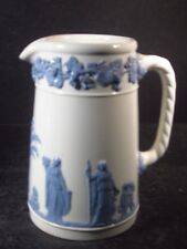 """Wedgwood Eturia Queensware Pitcher Reversed Blue On White 5 3/4"""""""