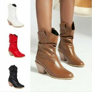 Women Chelsea Ankle Boots Cuban Heel Round Toe Western Trendy Motorcycle Shoes