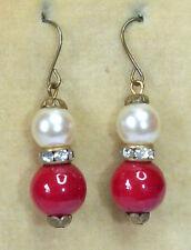 & red Czech glass bead earrings Vintage Art Deco 1930s creamy faux pearl