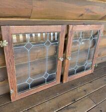 Vintage Pair Leaded Windows Cabinet Cupboard Door