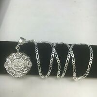 925 Sterling Silver Azteca Maya Calendar Pendant W/ Necklace 24 inch