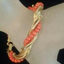 "Fancy 14 K Solid Gold Bracelet Twisted Alternated Coral bead Strand 71/2 "" Long"