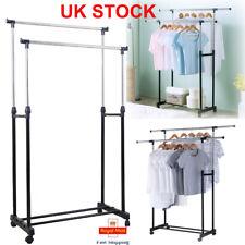 Garment Rack Single Double Silver Black Adjustable Portable Clothes Rail Stand