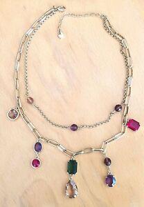 Collier double rang SWAROVSKI gros cristaux de plusieurs couleurs