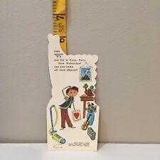Vtg Valentine Card Hippie Boy Vacuum Cleaner Violin Volcano V Words Unused