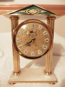 vintage FRENCH clock Vedette Gold Brass on marble stand mantle stunning Rare