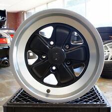 2 Fuchs Style Maxilite Wheels Porsche 911 944 930 15x8 Black Silver Lip Rims