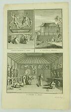 La Pagode B Picart Original 19th Century Engraving Vintage Print