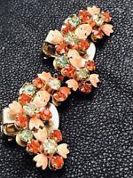 Beau Jewels Gold Orange Green Rhinestone Orange Enamel Vintage Earrings