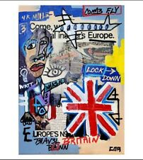 EXPRESSIONISM PAINTING ORIGINAL EUROPEAN ART ON CANVAS VINTAGE MIXED MEDIA DECOR