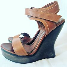 Alexander McQueen Brown Calf Leather Platform Wooden Wedge Sandals Size 39