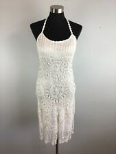 Sue Wong Womens Dress 14 White Lined Crochet Floral Beaded Halter Eyelet Lace