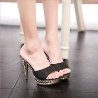 Women Glitter Platform Peep Toe Shoes Sexy Ladies High Heels Sandals Mules Party