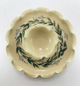 Seagroves NC Pottery Vegetable / Chip & Dip Round Ruffled Platter Beautiful!