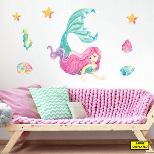 Mermaid wall stickers decals kids girls sea ocean fairytale bedroom merm1.a.