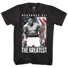Muhammad Ali USA Flag Boxing Men's T Shirt Fighter Greatest Black Champion Stars