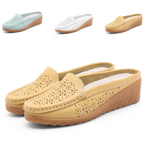 Hollow Slippers Mesh Nurse Slingbacks Mules Low Wedge Heel Creeper Women Shoes