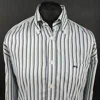 McGregor Mens Shirt XL Long Sleeve Green Regular Fit Striped Cotton