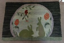 Antique Folk Art Hooked Rug Oval Scene Rabbits, Flowers and Bird on Stem