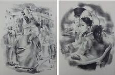 Mariette LYDIS : Jeune homme / Vieille femme enfant - 2 GRAVURES N&B #1947