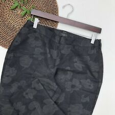 Talbots Womens Pants Black Floral Heritage Cropped Jacquard Side Zip Petite 8P