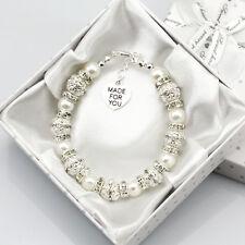 New Personalised Girl baby Silver Birthday weddingGift Charm Bracelet With Box