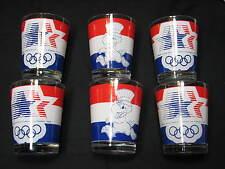 6 LOT Los Angeles Olympic Games Juice Glasses Set DOF 1984 California USA Eagle
