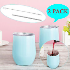 2 pcs Stainless Steel Wine Glass Unbreakable Tumbler Double Wall Lids 2 Straws