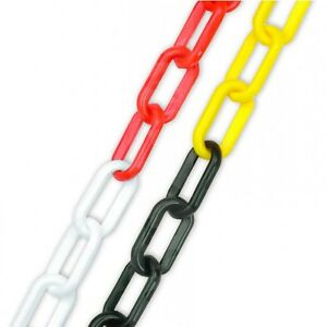 Plastic Chain - Red & White / Black & Yellow - Health & Safety Fence 5m 10m 25m