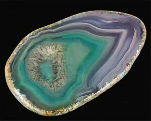 T10546 61x36x4mm Green/white Druzy Geode Agate Slab/slice