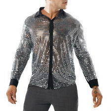 Mens Lapel Collar Buttons Front Clubwear Sequins Shirts Fashion Blouses Glitter