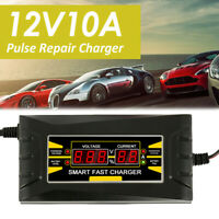 12V 10A Full Automatic Intelligent Smart Car Battery Charger Lead Acid GEL LCD