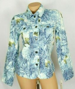 Analogy Womans Jacket Size Small Blue White Floral Embroidered