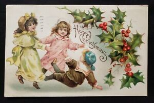 Antique Christmas Card die cut Embossed design Young boy and girls