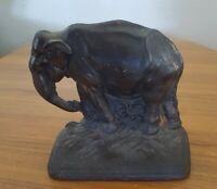 Vintage Hubley Bookend Elephant Circa 1925 Cast Iron #176