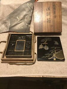 19th C. Japanese Suzuribako Writing Box Lavish Gold, MOP & Silver Inlays