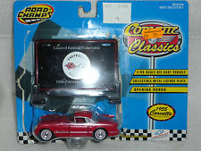 ROAD CHAMPS 1955 CORVETTE, 1.43 MINT MODEL WITH OPENING DOORS AND DISPLAY PLATE.