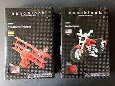 Nanoblock NBM-009 Harley Motorcycle & NBA-009 Red Baron Triplane FACTORY SEALED