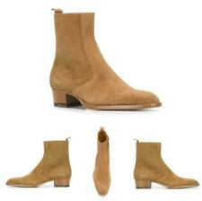 Men's Pointy Toe Pull on Cuban Heel British Genuine Leather Chelsea Boots Shoes