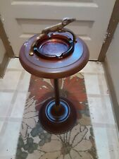"""VINTAGE ANTELOPE FLOOR GLASS ASHTRAY STAND 26"""" TALL GAZELLE Super Condition"""