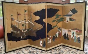Good Vintage Japanese 4 Panel Screen Painting - Signed - Boats, Europeans, flags